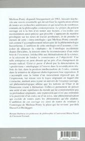 De l'etre du phenomene ; sur l'ontologie de merleau-ponty - 4ème de couverture - Format classique