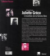 Juliette Gréco, l'invention de la femme libre - 4ème de couverture - Format classique