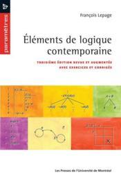 Élémetns de logique contemporaine (3e édition) - Couverture - Format classique