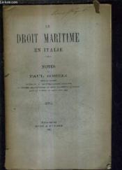 Le Droit Maritime En Italie - Notes De Paul Boselli. - Couverture - Format classique