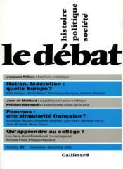 Revue Le Débat ; novembre-décembre 1995 - Couverture - Format classique