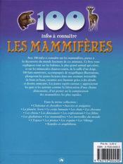 100 Infos A Connaitre ; Les Mammifères - 4ème de couverture - Format classique