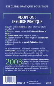 Le Guide Pratique De L'adoption ; Edition 2003 - 4ème de couverture - Format classique