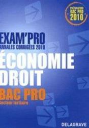 EXAM'PRO ; économie/droit ; bac pro secteur tertiaire - Couverture - Format classique