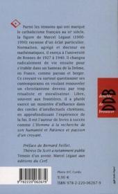 PETITE VIE DE ; petite vie de Marcel Légaut - 4ème de couverture - Format classique