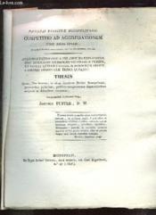 Competitio Ad Aggregationem Jussu Regis Optimi Thesis Fuster Josephus. Texte En Latin. - Couverture - Format classique