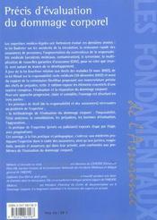 Precis d'evaluation du dommage corporel - 4ème de couverture - Format classique