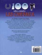 100 Infos A Connaitre ; Les Chevaux - 4ème de couverture - Format classique