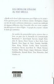Les defis de l'eglise au xxie siecle - 4ème de couverture - Format classique