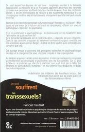 De Quoi Souffrent Les Transsexuels ; Psychopathologie Clinique Et Changement De Sexe - 4ème de couverture - Format classique