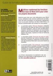 Word 2010 ; initiation - 4ème de couverture - Format classique