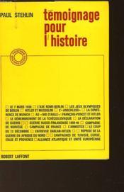 Temoignage Pour L'Histoire - Couverture - Format classique