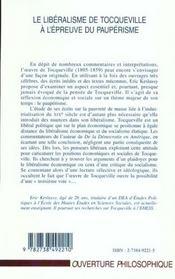 Le Liberalisme De Tocqueville A L'Epreuve Du Pauperisme - 4ème de couverture - Format classique