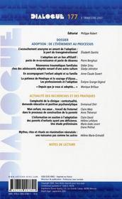 DIALOGUE N.177 ; adoption : de l'évènement au processus - 4ème de couverture - Format classique
