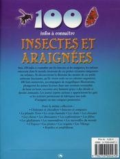 100 Infos A Connaitre ; Insectes Et Araignées - 4ème de couverture - Format classique