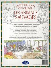 Les animaux sauvages ; autocollants et coloriages - 4ème de couverture - Format classique