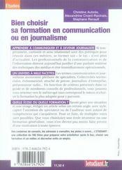Bien choisir sa formation en communication ou en journalisme - 4ème de couverture - Format classique