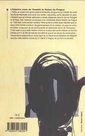 L'Histoire Vraie De Yossele Le Golem De Prague - 4ème de couverture - Format classique