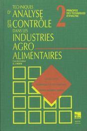Techniques d'analyse et de controle dans les industries agro-alimentaires (collection staa) - Intérieur - Format classique