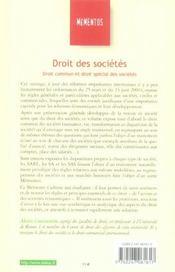 Droit Des Societes : Droit Commun Et Droit Special Des Societes - 4ème de couverture - Format classique
