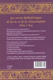 Secrets Kabbalistiques Vie Et Reincarnation - 4ème de couverture - Format classique