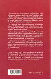 Cours De Chimie Analytique - 4ème de couverture - Format classique