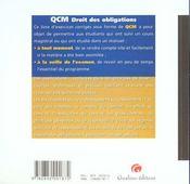 Qcm droit des obligations - 4ème de couverture - Format classique