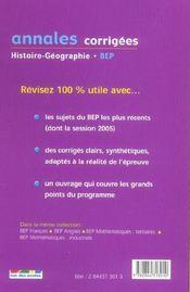 Annales Corrigees T.25 (édition 2006) - 4ème de couverture - Format classique