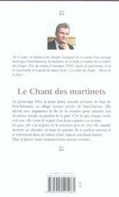 Chant Des Martinets (Le) - 4ème de couverture - Format classique