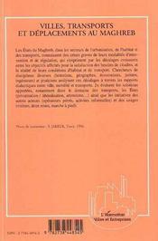 Villes, transports et déplacements au maghreb - 4ème de couverture - Format classique