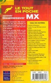 Dreamweaver Mx - 4ème de couverture - Format classique