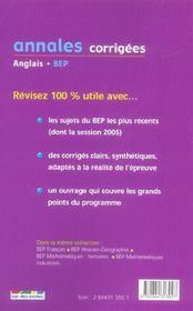 Annales Corrigees T.26 (édition 2006) - 4ème de couverture - Format classique