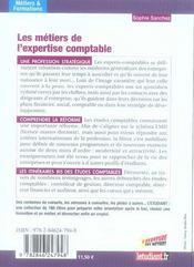 Les metiers de l'expertise comptable - 4ème de couverture - Format classique