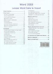 Competence Micro ; Word 2003 - 4ème de couverture - Format classique
