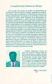 Le Systeme Des Tontines En Afrique - 4ème de couverture - Format classique