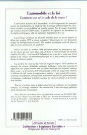 L'Automobile Et La Loi ; Comment Est Ne Le Code De La Route - 4ème de couverture - Format classique
