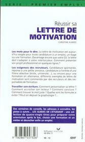 Reussir Sa Lettre De Motivation 98 - 4ème de couverture - Format classique