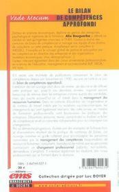 Le bilan de competence approfondie - 4ème de couverture - Format classique