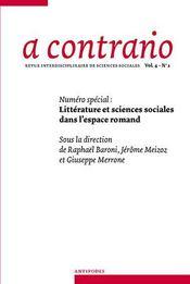REVUE A CONTRARIO N.2/4 ; littérature et sciences sociales dans l'espace romand - Intérieur - Format classique