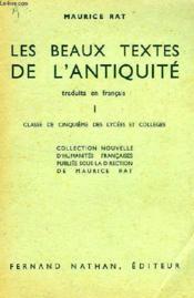 LES BEAUX TEXTES DE L'ANTIQUITE TRADUITS EN FRANCAIS, I, CLASSE DE 5e - Couverture - Format classique