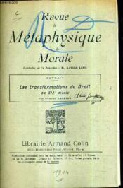 Revue De Metaphysique Et De Morale / Extrait Les Transformations Du Droit Au Xixe Siecle Par Edmond Laskine (Plaquette). - Couverture - Format classique