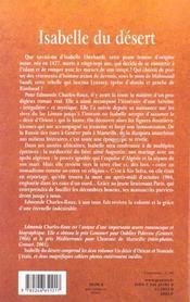 Isabelle du desert - 4ème de couverture - Format classique