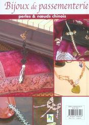 Bijoux de passementerie. creations en perles et noeuds chinois - 4ème de couverture - Format classique