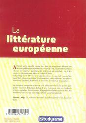 La litterature europeenne - 4ème de couverture - Format classique