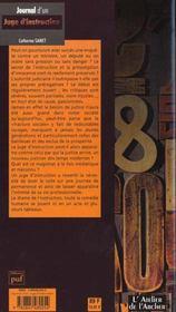 Journal d'un juge d'instruction - 4ème de couverture - Format classique