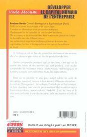 Developper le capital humain de l'entreprise. vade-mecum - 4ème de couverture - Format classique