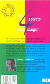 Les 4 Secrets Pour Maigrir - 4ème de couverture - Format classique
