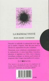 La Radioactivite - 4ème de couverture - Format classique