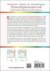 Agrégation interne de mathématiques t.1 ; leçons de la première épreuve orale - 4ème de couverture - Format classique