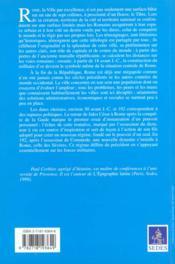 Rome ville et capitale - de la fin de la republique a la fin des antonins - 4ème de couverture - Format classique